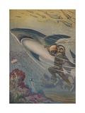 Illustration of Diver with Shark Impression giclée