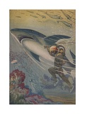 Illustration of Diver with Shark Giclee Print