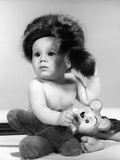 1960s Baby Wearing Coonskin Hat Photographic Print