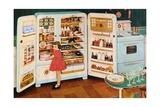 Girl Standing Near Open Refrigerator Giclee Print
