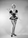 1960s Nonplused Blonde Woman Character Wearing French Maid Costume Photographic Print