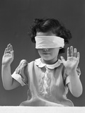 1940s Child Wearing Blind Fold with Hands Up in the Air Photographic Print