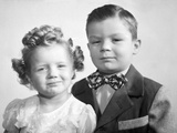 Brother and Sister Studio Portrait, Ca. 1949 Photographic Print