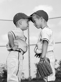 1960s Two Boys Playing Baseball Arguing Reproduction photographique
