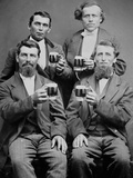 Four Guys and their Mugs of Beer, Ca. 1880 Fotografisk tryk