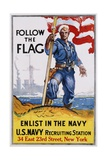 Follow the Flag Recruitment Poster Giclee Print by James Daugherty