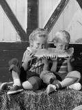 1960s Boy and Girl Sharing a Slice of Watermelon Photographic Print