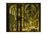 An Imaginary Church Interior with Figures Giclee Print by Bartholomeus Van Bassen