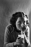 Girl Sipping a Soda Photographic Print by Philip Gendreau