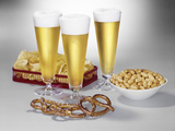 Three Pilsner Glasses of Beer Pretzels Peanuts Potato Chips Photographic Print by L. Fritz