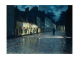 Houses of Peasants in the Moonlight, Dieppe Giclee Print by Fritz Thaulow