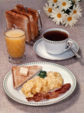 Scrambled Eggs Bacon Toast on Dish Glass Orange Juice Toast in Rack Cup of Coffee Daisies Breakfast Photographic Print by L. Fritz