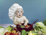 1960s Baby Wearing Chef Hat About to Toss Salad with Hands Wooden Salad Photographic Print