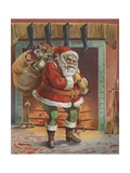 Santa Claus with Bag of Toys Giclee Print