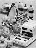 1950s-1960s Cold and Frozen Parfaits Dessert Ice Cream Fruit with Penguin Decoration Photographic Print by L. Fritz