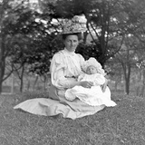 Oider Woman and Baby in a English Park, Ca. 1900 Photographic Print