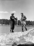 1930s Two Fishermen Holding Up Days Catch Lake of the Woods Ontario Canada Fotografie-Druck