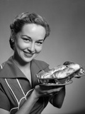 1950s Smiling Woman Holding Freshly Baked Rolls Photographic Print