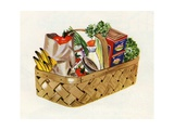 Basket of Groceries Giclee Print