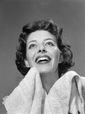 1950s Smiling Woman Drying Face with Towel Looking Up Photographic Print