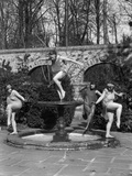 1910s Amateur Theatrics of Greek Mythology Hylas Kidnapped Three Female Sprites Water Nymphs Photographic Print