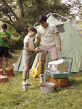1960s Three Boys at Campsite Cooking Camp Stove Eating Food Tent Teens Photographic Print
