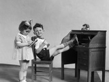 1930s Two Children Boy and Girl Playing Office Boss Feet on Desk Secretary Taking Dictation Photographic Print