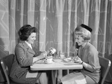 1960s Two Women Having Lunch in Coffee Shop Restaurant Photographic Print