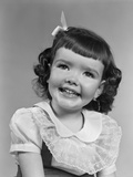 1950s Smiling Brunette Girl with Bangs Photographic Print