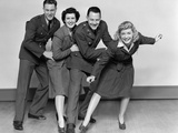 1940s Conga Line with Two Soldiers and Two Women Photographic Print