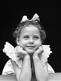 1940s Portrait Little Girl Daydreaming Photographic Print