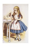 "Book Illustration of Alice Holding the Bottle Labelled ""Drink Me"" Giclee Print by John Tenniel"