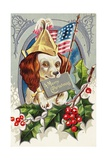 A Merry Christmas Postcard with a Patriotic Spaniel Giclee Print