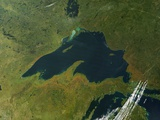 Satellite View of Lake Superior with Fall Colors Photographic Print