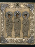 Russian Icon with Saint Gurii, Saint Samon, and Saint Aviv Photographic Print