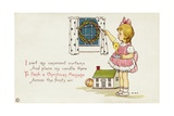 Christmas Postcard of Girl Looking Out of Window Giclee Print by Margaret Evans Price