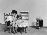 1930s Two Children Playing House Tea Party Fotografie-Druck