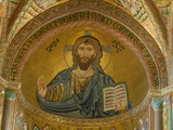 Christ Pantocrator Mosaic at Cathedral of Cefalu Reproduction photographique