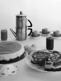 1950s Coffee Pot Cups and Saucers and Two Dessert Cakes Photographic Print by L. Fritz