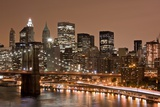 Brooklyn Bridge and Manhattan Skyline, New York City Fotografiskt tryck av Paul Souders