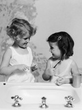 1930s Two Girls at Bathroom Sink Holding Toothbrush Photographic Print