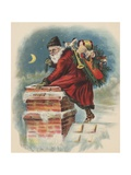 Santa Claus Going Down Chimney Giclee Print