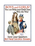 Boys and Girls! War Savings Stamps Poster Giclee Print by James Montgomery Flagg