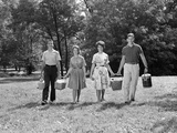 1960s Two Teenage Couples Going on Picnic Photographic Print