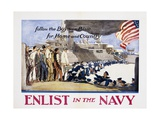 Follow the Boys in Blue for Home and Country, Enlist in the Navy Poster Giclee Print by George Hand Wright