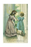 A Joyous Christmas Postcard with Little Girls Looking at the Christmas Tree Giclee Print