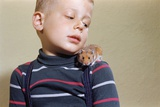 Hamster on Boy's Shoulder Photographic Print by William P. Gottlieb