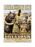 3 Feeds for One Cent Poster Giclee Print
