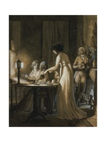 An Elegant Company in a Drawing-Room, Some Looking at a Magic Lantern French School, Circa 1800 Giclee Print