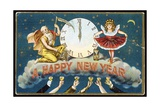 A Happy New Year Postcard with Father Time and a Young Girl Giclee Print